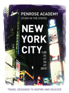 A poster advertising a school trip to NYC in 2013