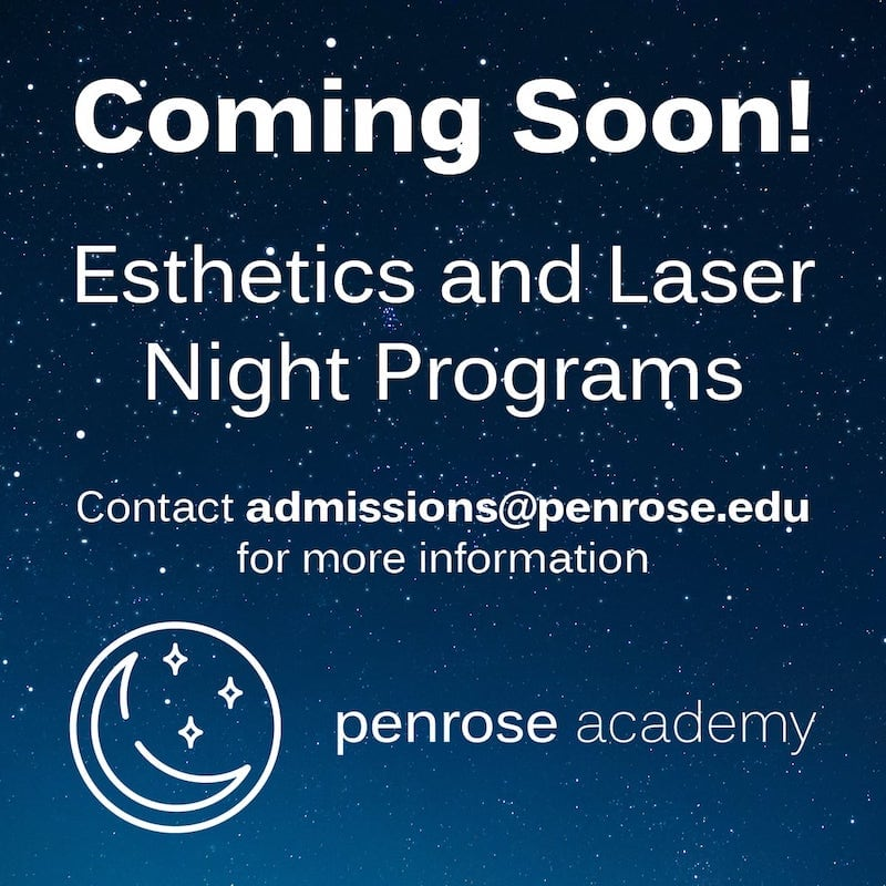 A poster advertising esthetics and laser night programs